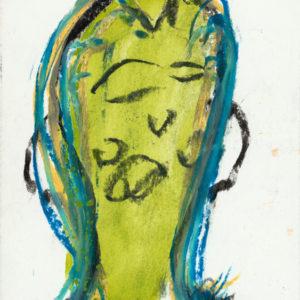 Arnold Schmidt, 2008, Frau, Kohle, Aquarellfarbe, Wachskreide, 14,8 x 10,4 cm, Copyright Privatstiftung - Künstler aus Gugging