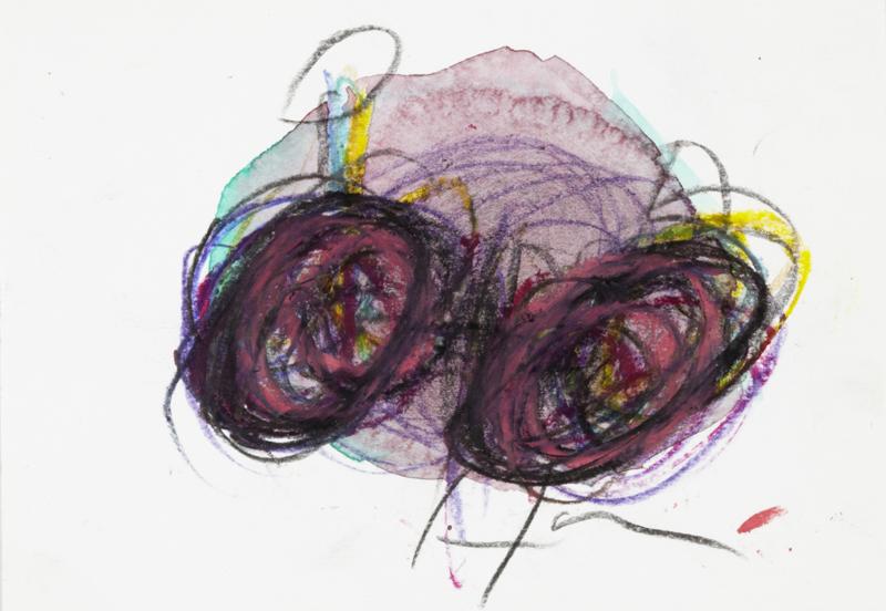 Arnold Schmidt, 2010, Fahrrad, Aquarellfarben, Wachskreide, Bleistift, 10,4 x 14,8 cm, Copyright Privatstiftung - Künstler aus Gugging