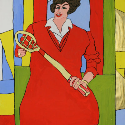 Frau in rotem Kleid mit Tennisschläger / Woman in red Dress with tennis racket