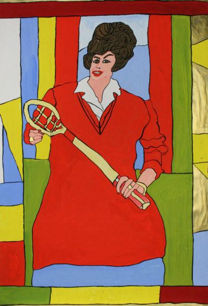 Frau in rotem Kleid mit Tennisschläger / Woman with tennis-racket