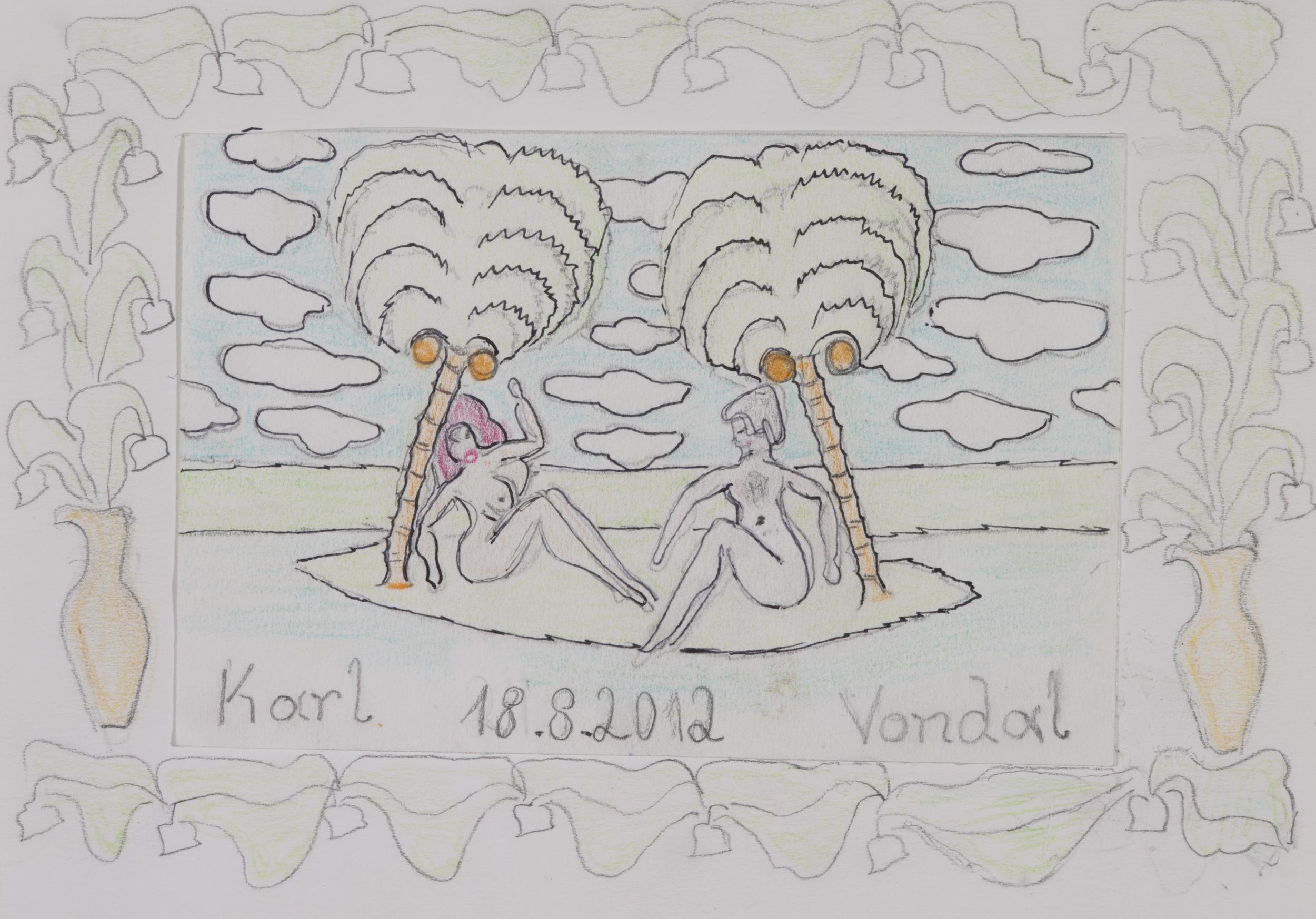 vondal karl - zwei schönheiten unter palmen / two beauties under palm trees