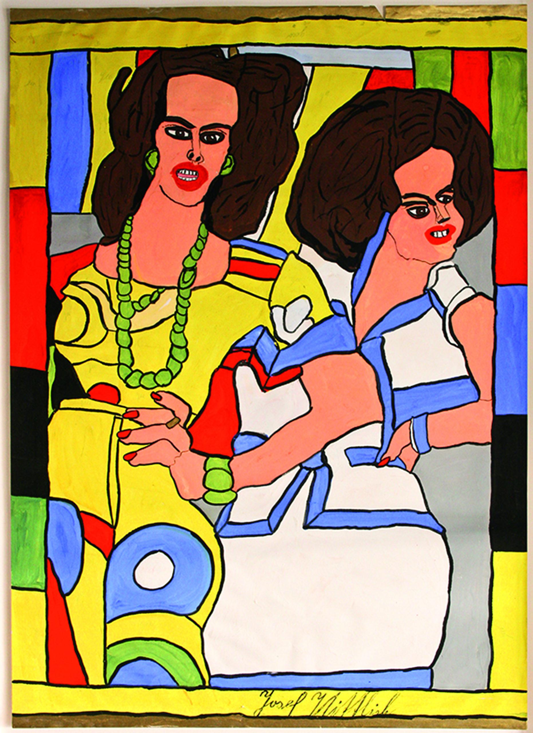 wittlich josef - Zwei Frauen in bunten Kleidern / Two women in colorful dresses