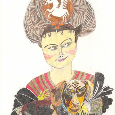 Prinzessin mit Dackel / Princess with dachshund