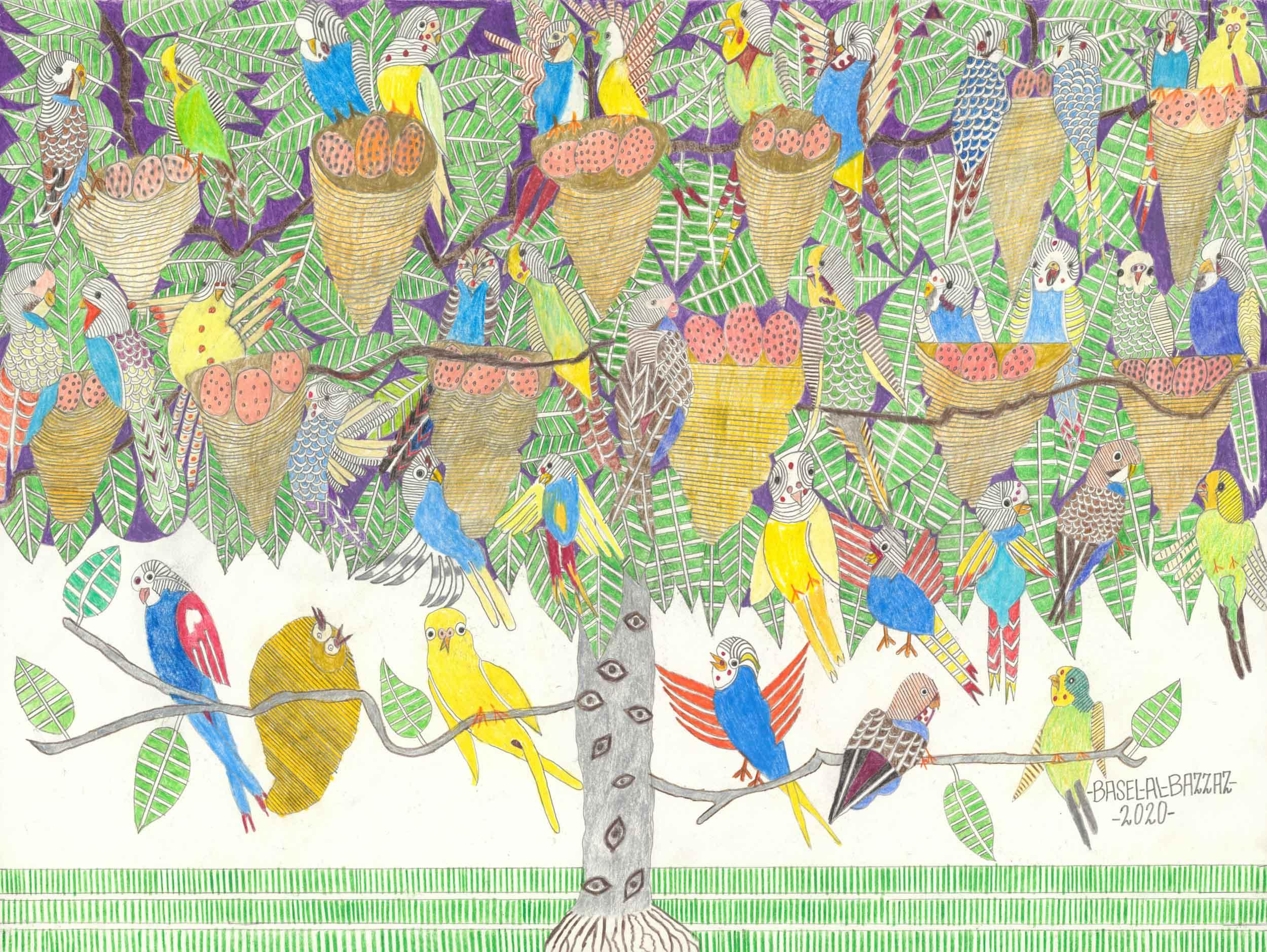 al-bazzaz basel - Sittiche im baum/parakeets in the tree